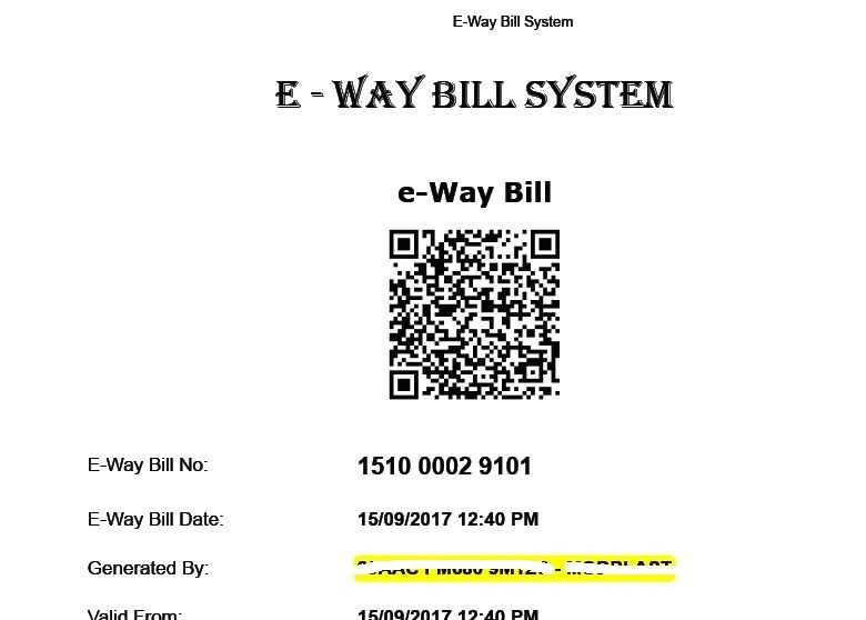 ewaybill with QR code