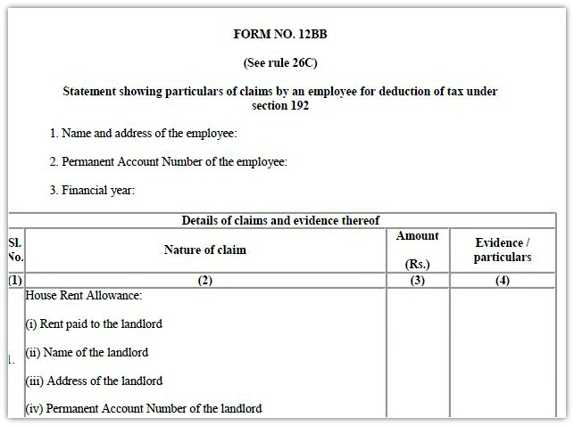 Form 12bb To Claim Hra Deduction By Salaried Employees