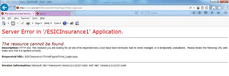 Server Error in ESICInsurance1 Application