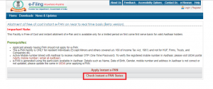 e-Pan Status page