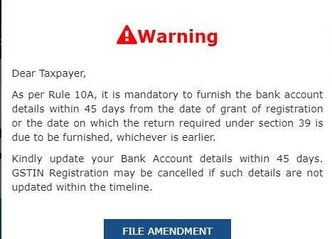 Bank details update on GST